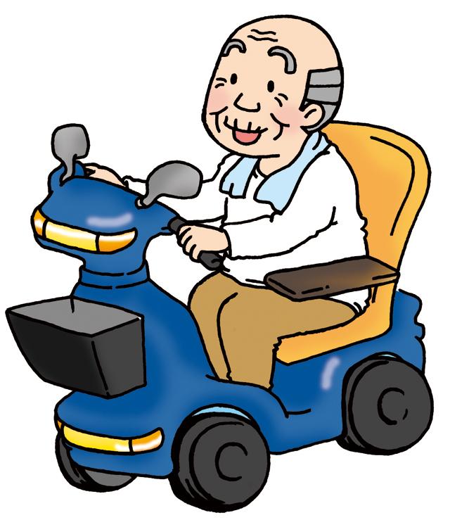 おじいちゃんが電動車いすを運転するイラスト